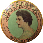 Antique Advertising Vanity Tin 1910s Eye Lash Ine Eyelash Remedy Beautiful Woman Metalware