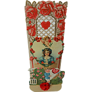 German Die Cut Antique Valentine Greeting Fold Out Honeycomb Tissue Rose Trellis