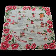 California Souvenir Handkerchief Vintage 1950s Hanky Hankie Cotton