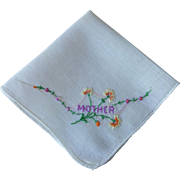 Vintage 1940s Mother Handkerchief Embroidery Hanky Hankie