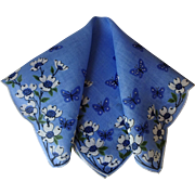Blue Floral Butterfly Handkerchief Vintage 1950s Cotton Hanky Hankie