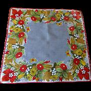 Floral Butterfly Handkerchief Vintage 1950s Flower Garden Cotton Hanky Hankie