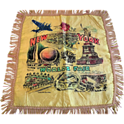 New York Worlds Fair Pillowcase Pillow Top Vintage 1930s Fringe Satin 1939