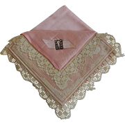 Handkerchief Holder Vintage 1930s Boudoir Pink Satin Lace Rhinestones