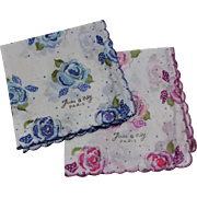 Jeou d'orly Floral Handkerchiefs Vintage 1950s Pink Blue Flowers Signed Pair