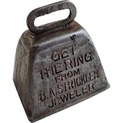 Jeweler Advertising Bell Antique Promotional Miniature Get The Ring From B.A. Strickler