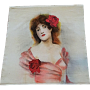 Victorian Velvet Tapestry Hand Painted Beautiful Woman Appliqued Roses Artist Signed Large