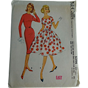 Wiggle Swing Dress Sewing Patten Vintage 1950s McCalls 5294