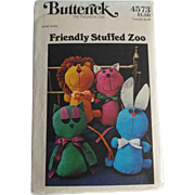 Stuffed Animal Toy Sewing Pattern Vintage 1970s Owl Lion Rabbit Cat Uncut