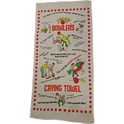 Bowlers Crying Towel Vintage 1950s Kitsch Novelty Print Cotton Cartoon Humor Bowling Sports