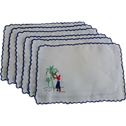Madeira Cocktail Napkins Set of 6 Ethnic Coconut Palm Tree Harvesters