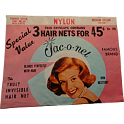 Advertising Hair Nets Vintage 1950s Womens Brown French Style Nylon Deadstock