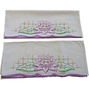 Lily Pad Pillowcases Vintage 1930s Pair White Cotton Embroidery Lace Lavender