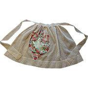 Kitchen Hostess Apron Pink Crepe Handkerchief Vintage 1950s Floral Carnation Hanky Hankie