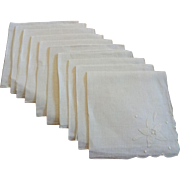 Set of 12 Fine Linen Dinner Napkins Vintage 1930s Shadow Work Flower White
