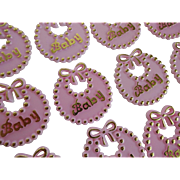 Set of 24 Vintage 1950s Pink Baby Girl Cake Topper Decorations Party Favors