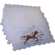 Madeira Cocktail Napkins Set of 6 Horse Racing Jockey Kentucky Derby