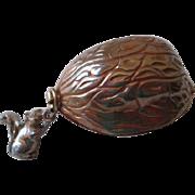 Miniature Antique Sewing Kit Nut Walnut Squirrel Charm Thimble Spool Thread