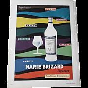 MCM Mid Century Modern French Art Ad Advertisement Vintage 1950s Marie Brizard Liqueurs Liquors