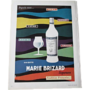 MCM Mid Century Modern French Art Ad Advertisement Vintage 1950s Marie Brizard Liqueurs Liquors