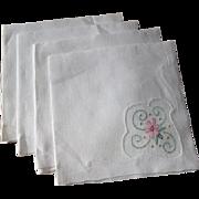 Set 4 Tea Table Napkins Vintage 1930s White Over Applique Pink Flowers Rice Linen