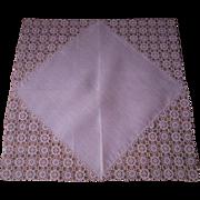 Pink Lace Handkerchief Vintage 1930s Linen Ornate Corners Hanky Hankie