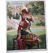 Large McLaughlins Coffee XXXX Trade Card Advertising Lillian Russell Actress Theater Victorian Queens Mate
