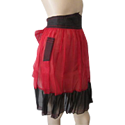 Kitchen Apron Vintage 1950s Red Black Chiffon Hostess