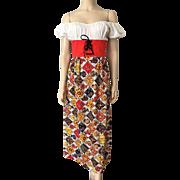 Bohemian Peasant Print Dress Vintage 1970s Maxi Cotton Patchwork Corset Bodice Off Shoulder
