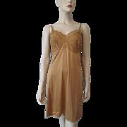 Gold Nylon Full Slip Vintage 1950s Lingerie Lace Bodice B48