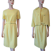Yellow Cashmere Dress Suit Jacket Vintage 1960s Jackie O Belt