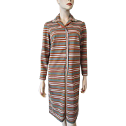 Nelly Don Striped Shirt Dress Vintage 1970s Polyester Fall Colors