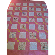 Vintage 1930s Quilt Pink White Twin Embroidered Countries States Feedsack Cotton Hand Stitched
