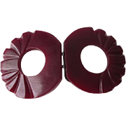 Deeply Carved Bakelite Buckle Vintage 1940s Carnelian Deep Red Art Deco