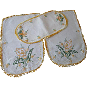 Embroidered Floral Linen Chair Doily Set Vintage 1950s Goldenrod Yellow Green