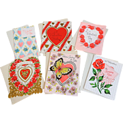 Lot 6 Vintage 1950s Valentines Day Greeting Cards Unused With Envelopes