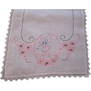 Sunbonnet Sue Dresser Scarf Vintage 1930s Embroidery Pink Daisies Guest Towel