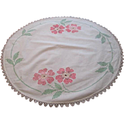 Round Linen Tablecloth Vintage 1950s Embroidered Cross Stitch Flowers Crocheted Lace Border