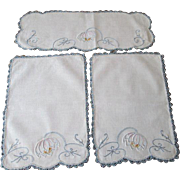 Lotus Water Lily Pad Linen Doilies Vintage 1930s Chair Set Embroidery Crocheted Lace
