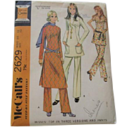 Uncut Vintage 1970s Sewing Pattern Knit Tunic Dress Pants Suit Groovy Retro Vibe