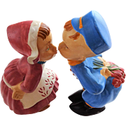 Dutch Kissing Couple Vintage 1960s Ceramic Boy Girl Figurines