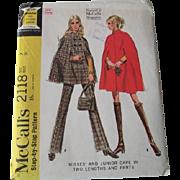 Uncut Vintage 1960s Cape Pants Sewing Pattern McCalls 2118
