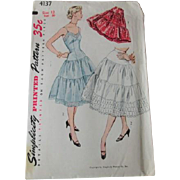 Petticoat Half Slip Sewing Pattern Vintage 1950s Swing Style Full Circle Simplicity 4137