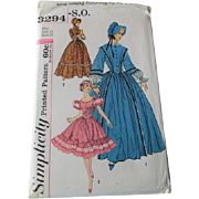 Centennial Costume Dress Bonnet Vintage 1950s Rockabilly Square Dance Dress Simplicity 3294