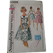 Vintage 1960s Day Or Cocktail Dress Sewing Pattern Simplicity Primer 5368