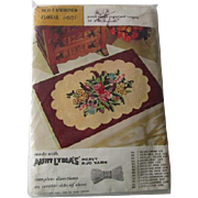 Punch Needle Rug Kit Vintage 1950s Wall Hanging Flowers Floral Cottage Farmhouse Sewing Project Aunt Lydias