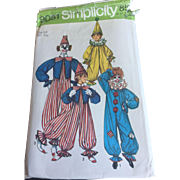 Uncut Clown Halloween Costume Pattern Vintage 1970s Unisex Childrens Simplicity 9051