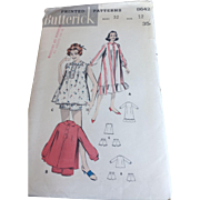 Butterick 8642 Lingerie Sewing Pattern Vintage 1950s Baby Doll Nightgown Negligee Pajamas Peter Pan Collar