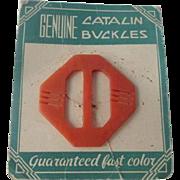 Orange Art Deco Bakelite Slide Buckle Vintage 1940s Dead Stock NOS NIP