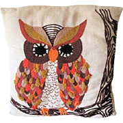Owl Crewel Throw Pillow Vintage 1970s Linen Fall Colors Halloween Home Decor
